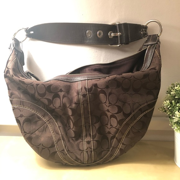 Coach Handbags - Coach Brown Signature Canvas Hobo Handbag